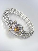Designer Style Silver Cable Gold Brown Topaz Crystal Magnetic Mesh Bracelet - $15.98