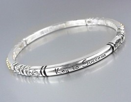 Inspirational Silver Stretch KEY TO SUCCESS Stackable Bracelet - $8.45