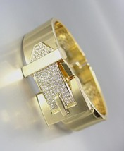 EXQUISITE Gold Metal Pave CZ Crystals BUCKLE Hinged Bangle Bracelet - $380,71 MXN