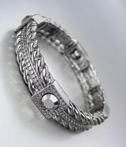 CLASSIC Designer Style Antique Metal Hematite CZ Crystals Stretch Bracelet - $15.99
