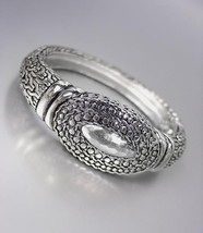 Classic Designer Style Silver Balinese Weave Cable Dots Hinged Bangle Bracelet - $29.99