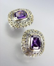 GORGEOUS Designer Style Balinese Silver Gold Purple Amethyst CZ Crystal Earrings - £19.29 GBP