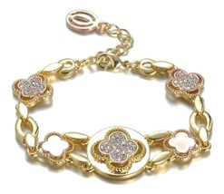 NEW Designer Inspired Gold Rose Copper Clover Clovers CZ Crystals Links Bracelet - $26.32