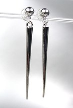 Chic & Sexy Basketball Wives Style Silver Metal Spike Long Dangle Post Earrings - $15.04