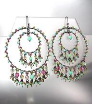 FABULOUS Multicolor Crystals Antique Metal Chandelier Dangle Peruvian Ea... - £17.00 GBP