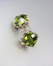 Designer PETITE Silver Gold Balinese Filigree Olive Green CZ Crystal Ear... - £14.53 GBP