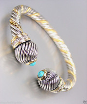CLASSIC Designer Inspired Silver Gold Cable Turquoise CZ Crystals Cuff B... - €25,16 EUR
