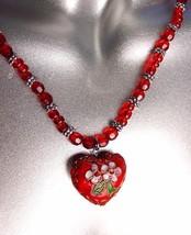 DECORATIVE Red Multi Cloisonne Enamel Floral Heart Pendant Necklace - $12.22
