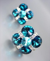EXQUISITE Teal Blue Czech Crystals Bridal Prom Pageant Queen CLIP Earrings - £18.57 GBP