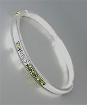 NEW Brighton Bay Silver Filigree Olive Green CZ Crystals Stretch Bracelet #39 - $9.40