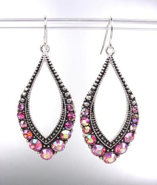 Primary image for SPARKLE Antique Silver Metal CZ Pink AB Crystals Tear Drop Dangle Earrings