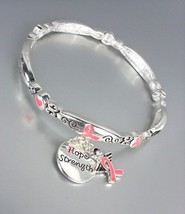Breast Cancer Awareness Pink Ribbon Hope Strength Charms Stackable Bracelet - $12.99