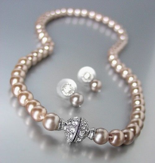 Primary image for Designer Inspired Brown Pearls Magnetic Eternity Pave CZ Crystals Necklace Set