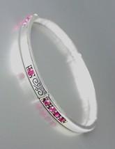 NEW Brighton Bay Silver Filigree Fuchsia Pink CZ Crystals Stretch Bracelet #39 - $9.40