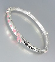 Breast Cancer Awareness Pink Ribbon Make A Difference Stretch Stackable Bracelet - $9.99