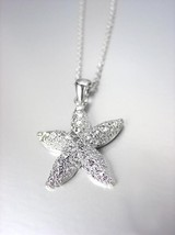 SPARKLE SHIMMER 18kt White Gold Plated CZ Crystals STARFISH Necklace - $18.80