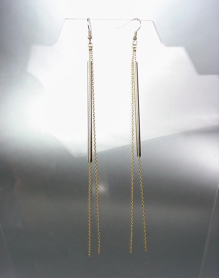 Primary image for CHIC & UNIQUE Gold Hollow Bar Chains Shoulder Duster Extra Long Dangle Earrings