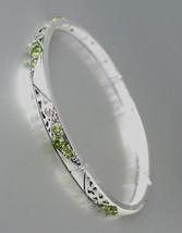 NEW Brighton Bay Thin Silver Filigree Olive Green CZ Crystals Stretch Bracelet - $9.40
