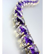 Designer Style Silver Gold Balinese Purple Amethyst CZ Crystals Links Br... - $79.99