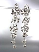 STUNNING Clear Czech Crystals WATERFALL Drippy Long Dangle Earrings - $31.03