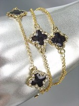 LUXURIOUS 18kt Gold Plated Chains Black Enamel Quatrefoil CZ Crystals Br... - €16,45 EUR