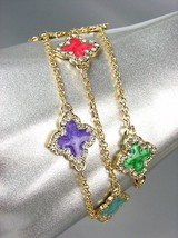LUXURIOUS 18kt Gold Plated Chains Multi Enamel Quatrefoil CZ Crystals Br... - €16,64 EUR