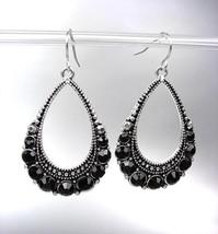 SPARKLE Antique Silver Black CZ Crystals Tear Drop Dangle Earrings - $12.99