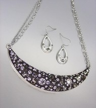 SPARKLE Smoky Gray Black CZ Crystals Black Resin Necklace Earrings Set - $20.68