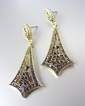 VICTORIAN 18kt Gold Plated Marcasite Crystals Chandelier Dangle Post Earrings - $31.03