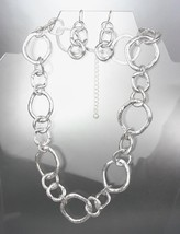 CLASSIC Mat Satin Brushed Silver Organic Metal Rings Necklace Earrings Set - $18.80