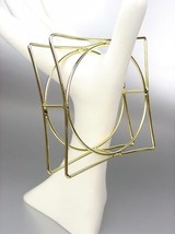 CHIC & UNIQUE Thin Gold Wire Geometric Square Round STATEMENT Bangle Bra... - €14,41 EUR