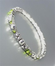 CLASSIC NEW Brighton Bay Silver Dots Metal Olive CZ Crystals Stretch Bracelet - $9.40