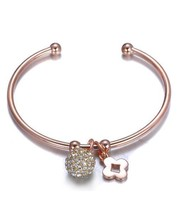 Designer Style Pave CZ Crystals Ball Clover Charms Rose Copper Cuff Brac... - $449,39 MXN