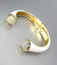 ELEGANT Gold Metal White Lacquer Enamel Pave CZ Crystals Hinged Cuff Bracelet - $16.92