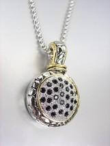 CLASSIC Designer Style Balinese Silver Dots Black CZ Crystals Pendant Ne... - $28.21