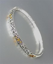 CLASSIC Brighton Bay Silver Filigree Brown Topaz CZ Crystals Stretch Bracelet - $9.40