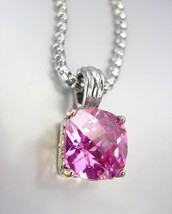 Designer Style Silver Gold BALINESE Pink Rose CZ Crystal Pendant Chain N... - $28.21