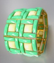 EXPRESSIVE Chunky Aqua Blue Green Creme Acrylic Crystals Gold Stretch Bracelet - $9.99
