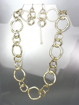 CLASSIC Mat Satin Brushed Gold Organic Metal Rings Necklace Earrings Set - $18.80