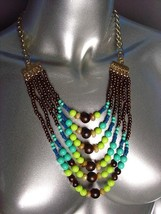 EXPRESSIVE Blue Multicolor Faux Stone Wood Beads Layered Necklace Earrin... - $15.04