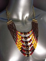 EXPRESSIVE Multicolor Faux Stone Wood Beads Layered Necklace Earrings Set - $15.04