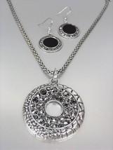 VINTAGE Antique Silver Texture Marcasite Crystals Medallion Mesh Necklac... - $18.80