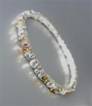 ELEGANT Brighton Bay Silver Dots Metal Brown Topaz CZ Crystals Stretch Bracelet - $9.40