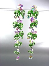 STUNNING Peridot Green Iridescent Czech Crystals WATERFALL Dangle Earrings - $31.03