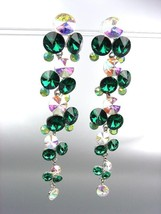 STUNNING Emerald Green Iridescent Czech Crystals WATERFALL Dangle Earrings - $31.03