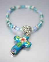 DECORATIVE Blue Multi Cloisonne Enamel Cross Charm Beads Stretch Bracelet - $9.40