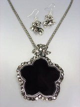 FABULOUS Antique Silver Marcasite Crystals Medallion Mesh Chain Necklace... - $18.80