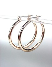 "NEW Rose Copper Metal 1 3/8"" Diameter Round Hoop Earrings - $10.34"