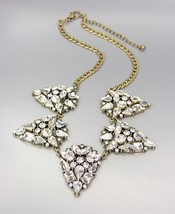 GLITZY Clear CZ Crystals Medallions Antique Gold Chain Drape Necklace - $24.44