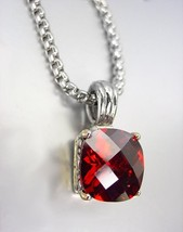 Designer Style Silver Gold BALINESE Red Garnet CZ Crystal Pendant Chain ... - $28.21